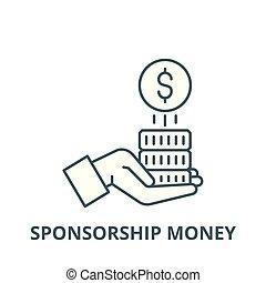 Sponsorship money vector line icon, linear concept, outline sign, symbol