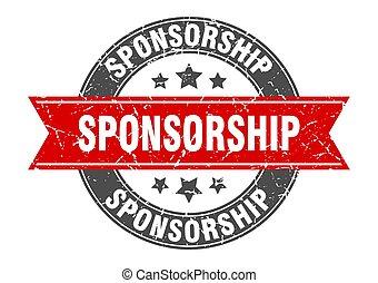 sponsorship round stamp with red ribbon. sponsorship