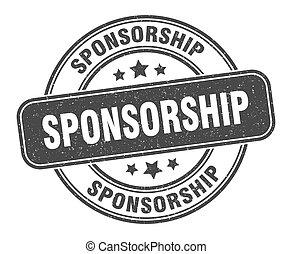 sponsorship stamp. sponsorship label. round grunge sign