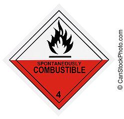 spontaan, brandbaar, waarschuwingsetiket