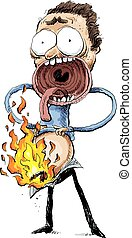 Spontaneous Combustion - A cartoon man reacts with fear and...