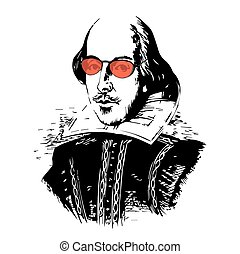 William Shakespeare Vector Illustration Isolated Spoof Vector Drawing