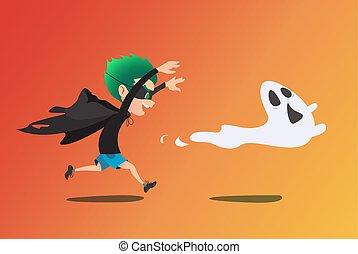 spook, echte, schattig, ghost kostuum, het achtervolgen, geitje