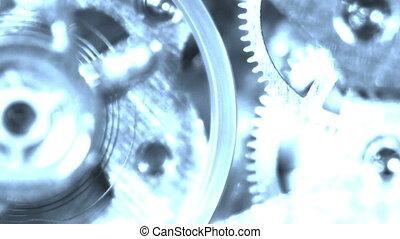spook, ronddraaien, oud, tandwiel, klokken samenstel van bewegende delen, machine, ticking, stopwatch, hologram
