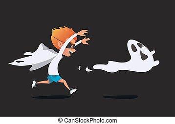 spook, schattig, het achtervolgen, kostuum, spook, echte, geitje