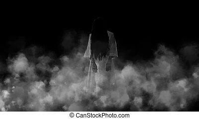 spook, schrik, meisje, mist., nacht
