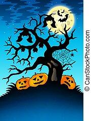 spooky, árvore, com, morcegos, e, abóboras