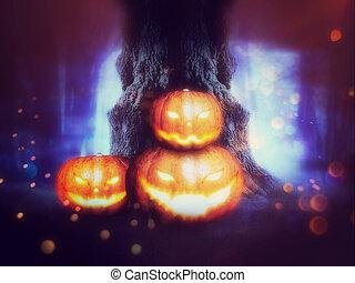 spooky, abóboras, árvore