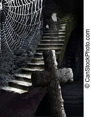 spooky, adega, com, fantasma