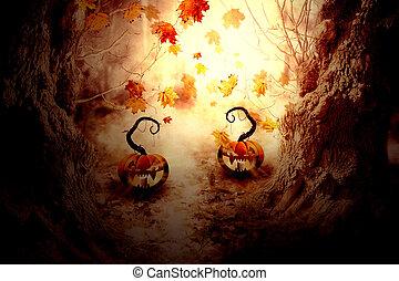 spooky, arbre, citrouille