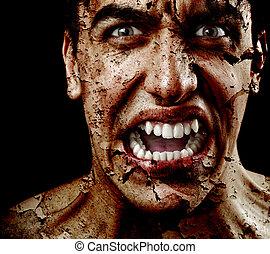 spooky, assustador, homem, com, envelhecido, rachado, desfolha, pele