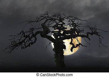 spooky bare tree on moody sky with full moon.