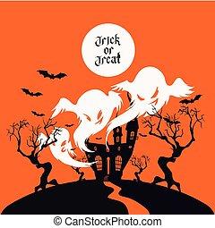 spooky, casa, truque deleite, cartão, desenho