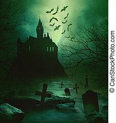 Spooky castle with eerie graveyard down below