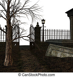 Spooky Cemetery - A spooky cemetery on a white background