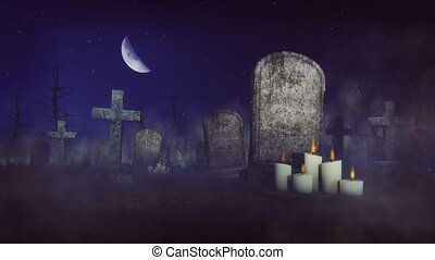 Spooky cemetery at moonlight night