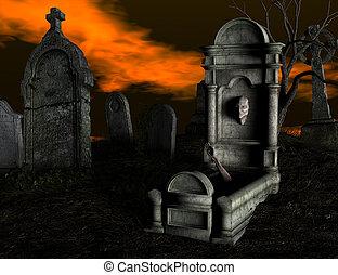 spooky, cemetery.