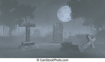 Spooky cemetery under full moon
