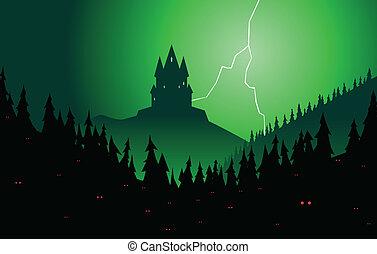 spooky, château, forêt