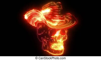 Spooky cowboy skull character with classic felt hat in ...