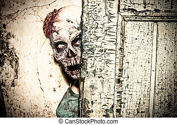 spooky creature - Horrible scary zombie man on the ruins of...