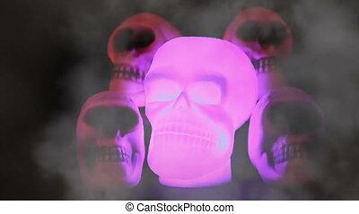 spooky, czaszki, płonący