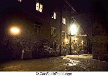 Spooky dark alley