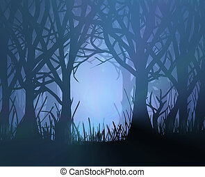 Illustration depicting spooky dark forest scene at night with silhoutted trees and eerie misty backlight.