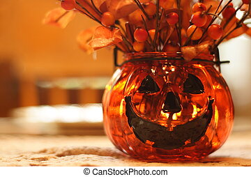 Spooky Decoration - A Halloween themed glass flower vase in...