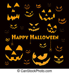 spooky, dia das bruxas, caras, ligado, pretas