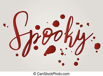 spooky, dia das bruxas, lettering, feriado, inscrição