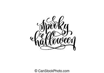 spooky, dia das bruxas, mão, lettering, feriado, inscrição