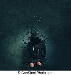 Spooky evil criminal person with hooded jacket dissolving in...