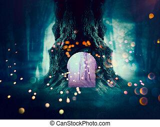 spooky, floresta árvore