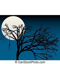 Creepy silhouettee of lone bent tree holding single empty noose editalbe vector illustration