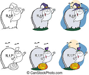 Spooky Ghost Series 2. Collection - Spooky Ghost Cartoon...