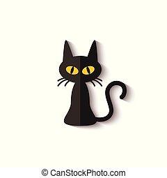 spooky, gradient, plat, icône, noir, jaune, ombre, yeux, chat, réaliste