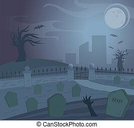 Spooky Graveyard at night. Eps10