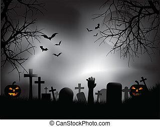 spooky, graveyard