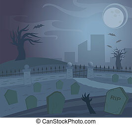 Spooky Graveyard at night. Eps10