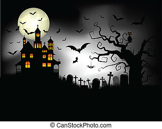 Spooky Halloween background - Halloween background with...