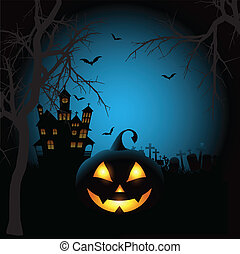 Spooky Halloween background with a pumpkin and haunted house