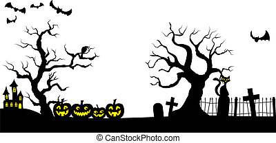 spooky halloween background - vector illustration of a...