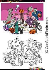 spooky Halloween cartoon characters coloring book