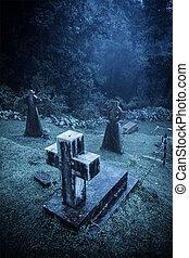 spooky, halloween, cimetière, dans, brouillard
