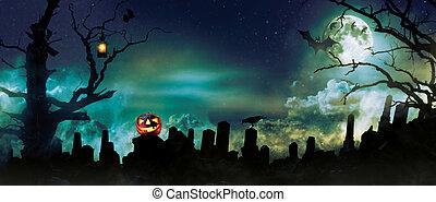 spooky, halloween, fond, à, cimetière, pierres, silhouettes