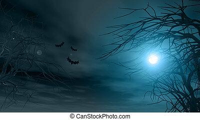 spooky, halloween, fond, arbres