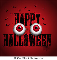 spooky, halloween, fond, globes oculaires