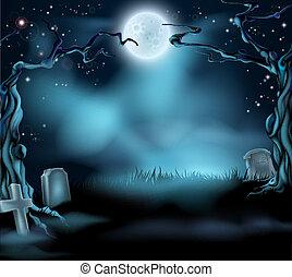 spooky, halloween, fond, scène
