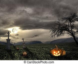 Spooky Halloween graveyard with pumpkin
